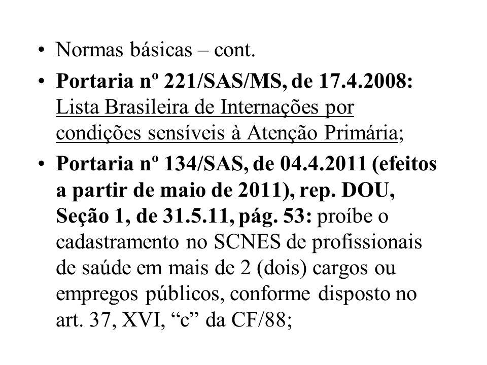Normas básicas – cont. Portaria nº 221/SAS/MS, de 17.4.2008: Lista Brasileira de Internações por condições sensíveis à Atenção Primária;