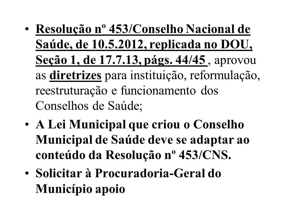Resolução nº 453/Conselho Nacional de Saúde, de 10. 5