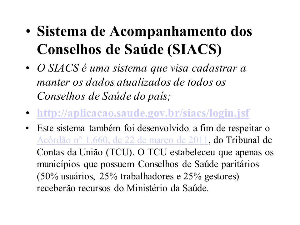 Sistema de Acompanhamento dos Conselhos de Saúde (SIACS)