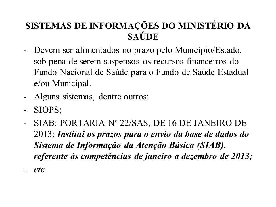 SISTEMAS DE INFORMAÇÕES DO MINISTÉRIO DA SAÚDE