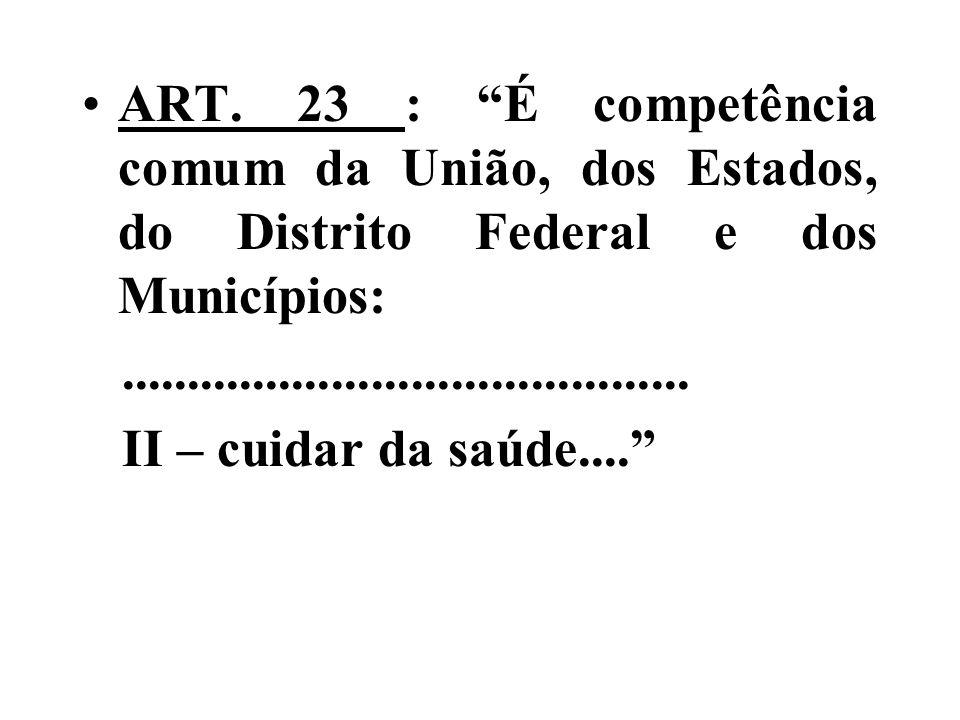 ART. 23 : É competência comum da União, dos Estados, do Distrito Federal e dos Municípios: