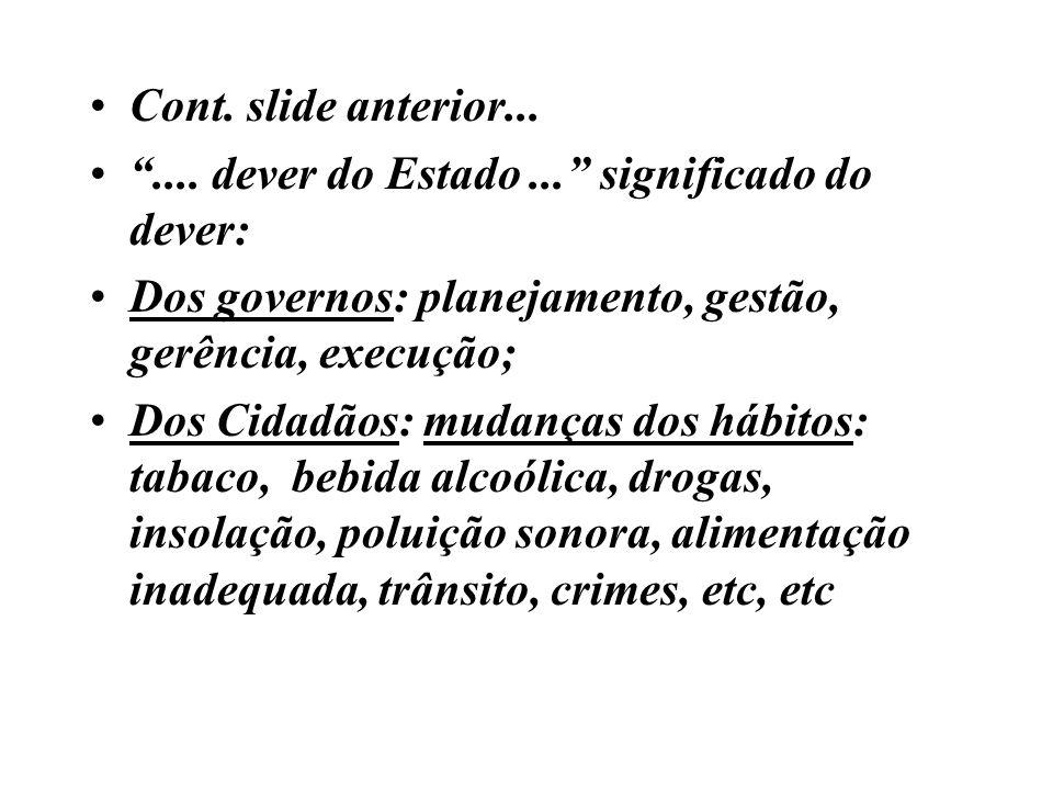 Cont. slide anterior... .... dever do Estado ... significado do dever: Dos governos: planejamento, gestão, gerência, execução;