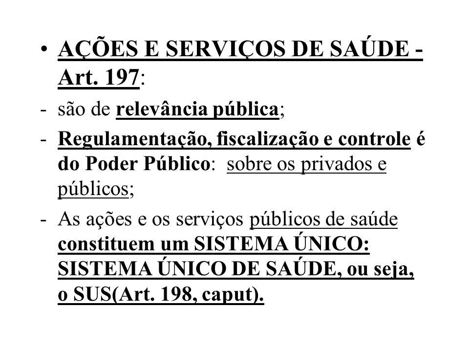 AÇÕES E SERVIÇOS DE SAÚDE - Art. 197: