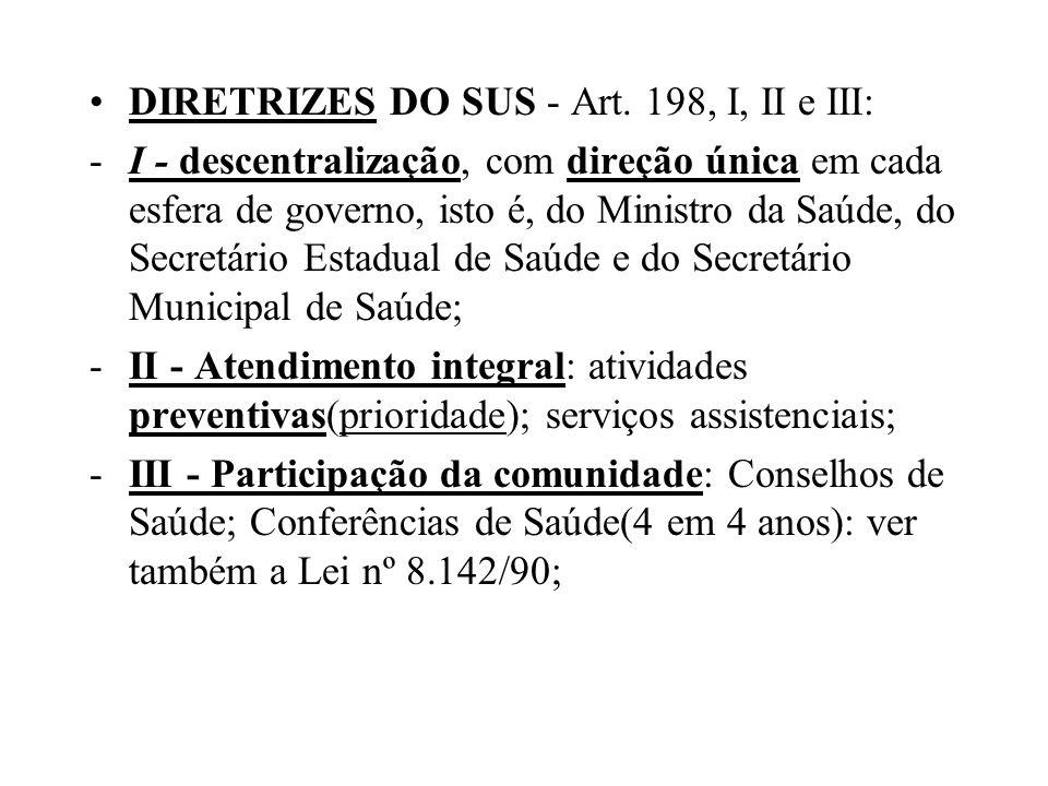 DIRETRIZES DO SUS - Art. 198, I, II e III: