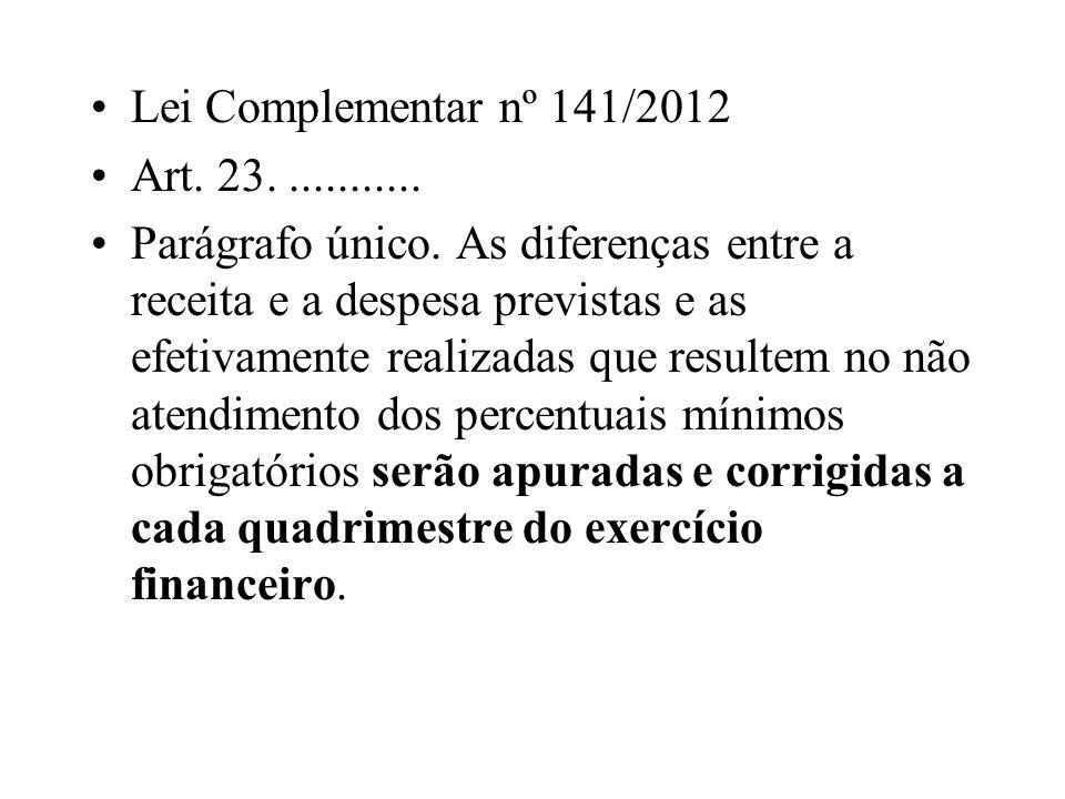 Lei Complementar nº 141/2012Art. 23. ...........