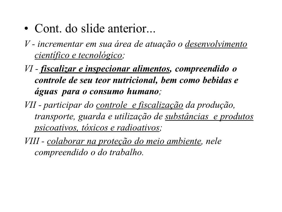 Cont. do slide anterior... V - incrementar em sua área de atuação o desenvolvimento científico e tecnológico;