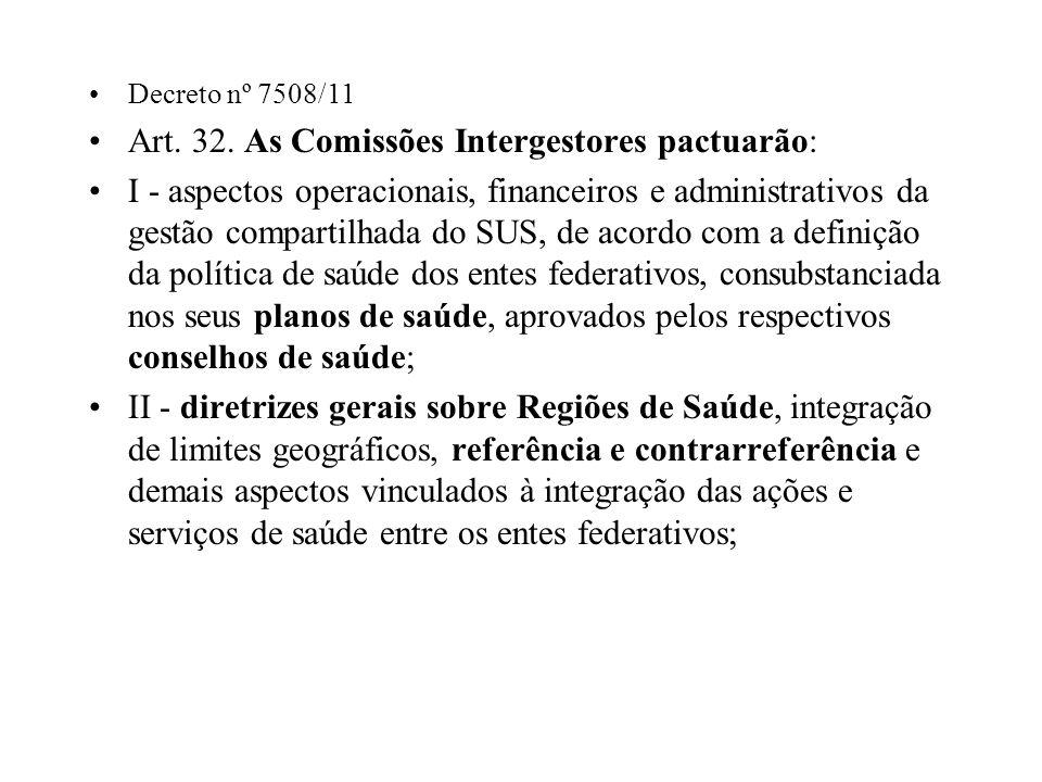 Art. 32. As Comissões Intergestores pactuarão: