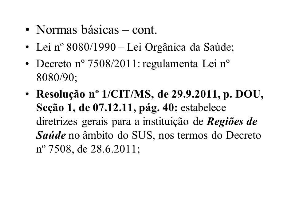 Normas básicas – cont. Lei nº 8080/1990 – Lei Orgânica da Saúde;
