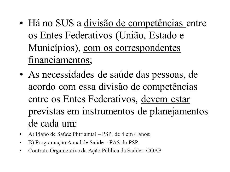 Há no SUS a divisão de competências entre os Entes Federativos (União, Estado e Municípios), com os correspondentes financiamentos;
