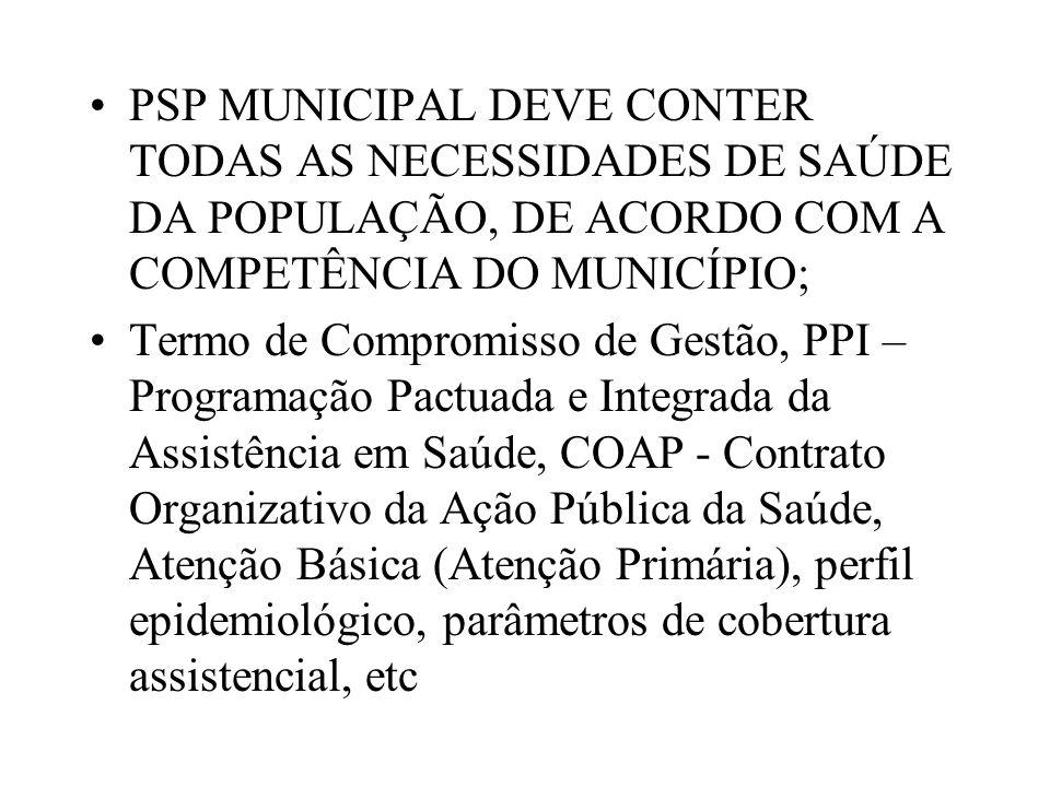 PSP MUNICIPAL DEVE CONTER TODAS AS NECESSIDADES DE SAÚDE DA POPULAÇÃO, DE ACORDO COM A COMPETÊNCIA DO MUNICÍPIO;