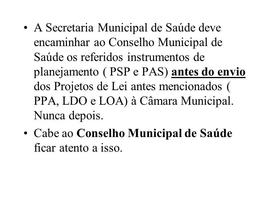 A Secretaria Municipal de Saúde deve encaminhar ao Conselho Municipal de Saúde os referidos instrumentos de planejamento ( PSP e PAS) antes do envio dos Projetos de Lei antes mencionados ( PPA, LDO e LOA) à Câmara Municipal. Nunca depois.