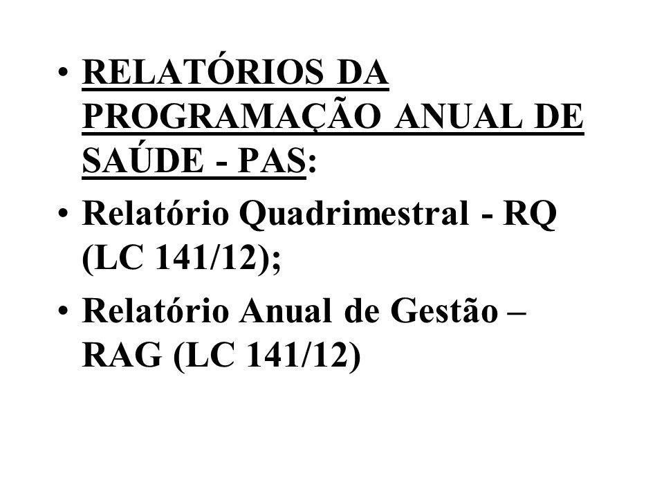 RELATÓRIOS DA PROGRAMAÇÃO ANUAL DE SAÚDE - PAS: