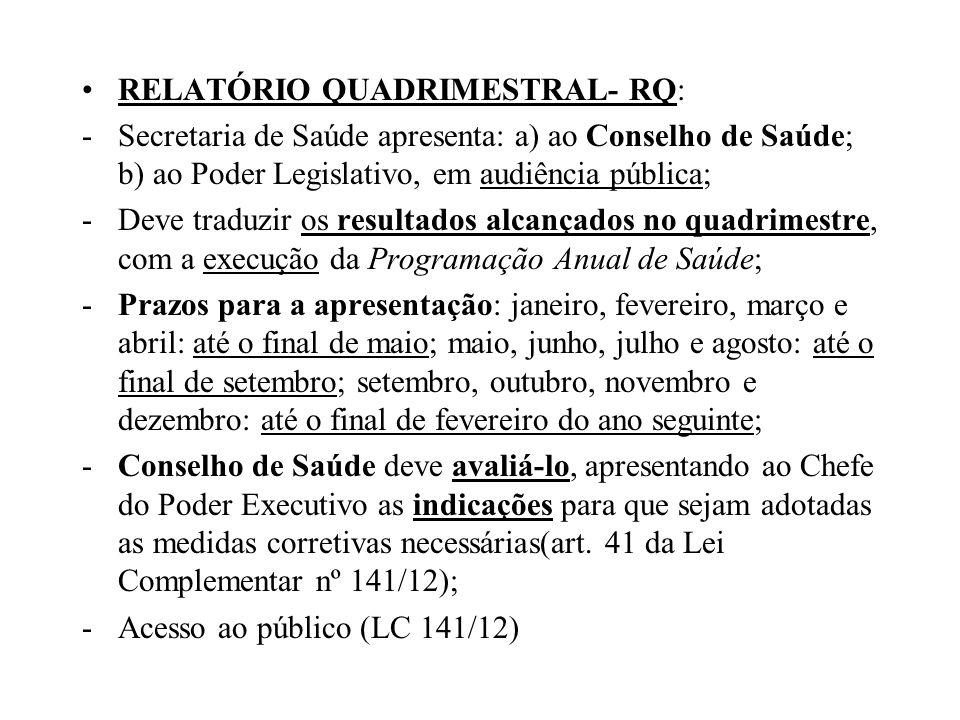 RELATÓRIO QUADRIMESTRAL- RQ:
