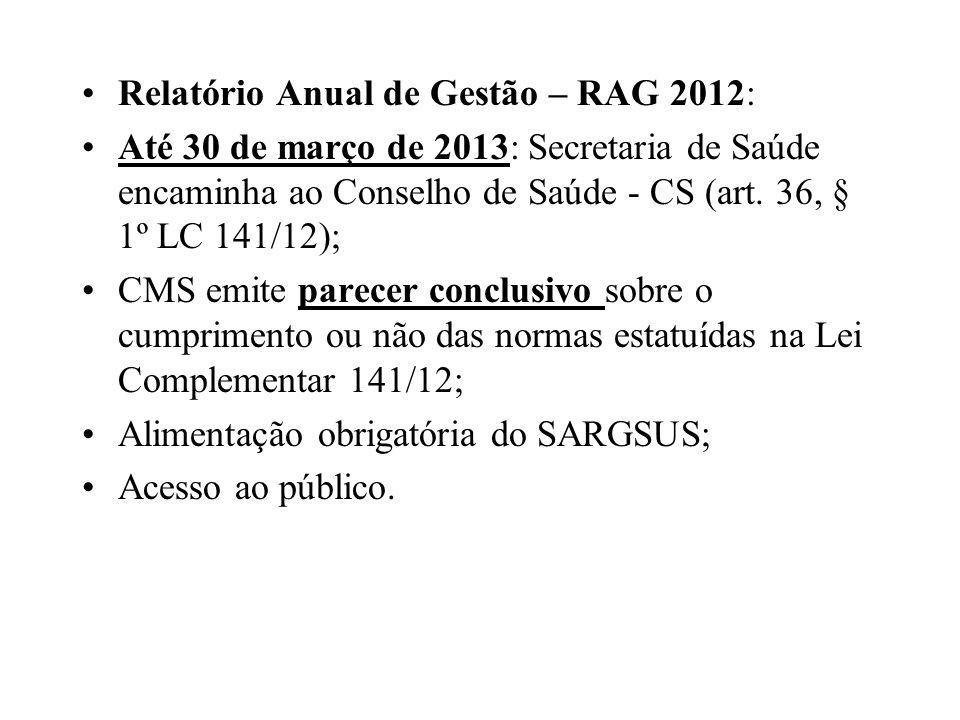 Relatório Anual de Gestão – RAG 2012: