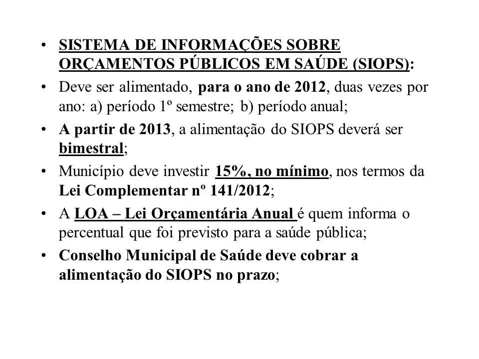 SISTEMA DE INFORMAÇÕES SOBRE ORÇAMENTOS PÚBLICOS EM SAÚDE (SIOPS):