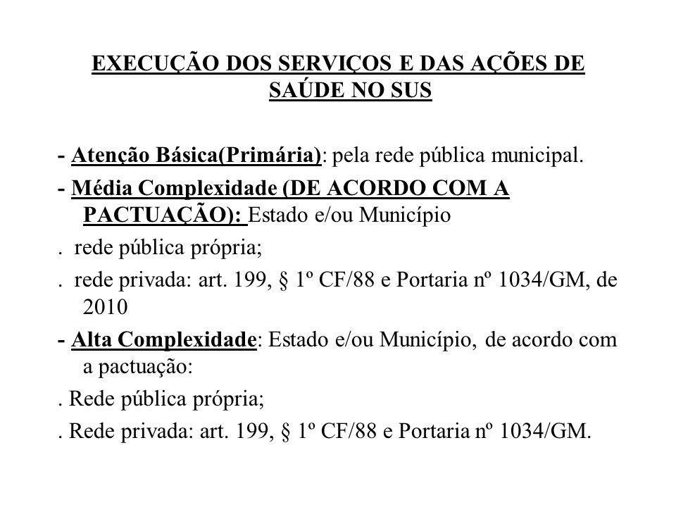 EXECUÇÃO DOS SERVIÇOS E DAS AÇÕES DE SAÚDE NO SUS - Atenção Básica(Primária): pela rede pública municipal.