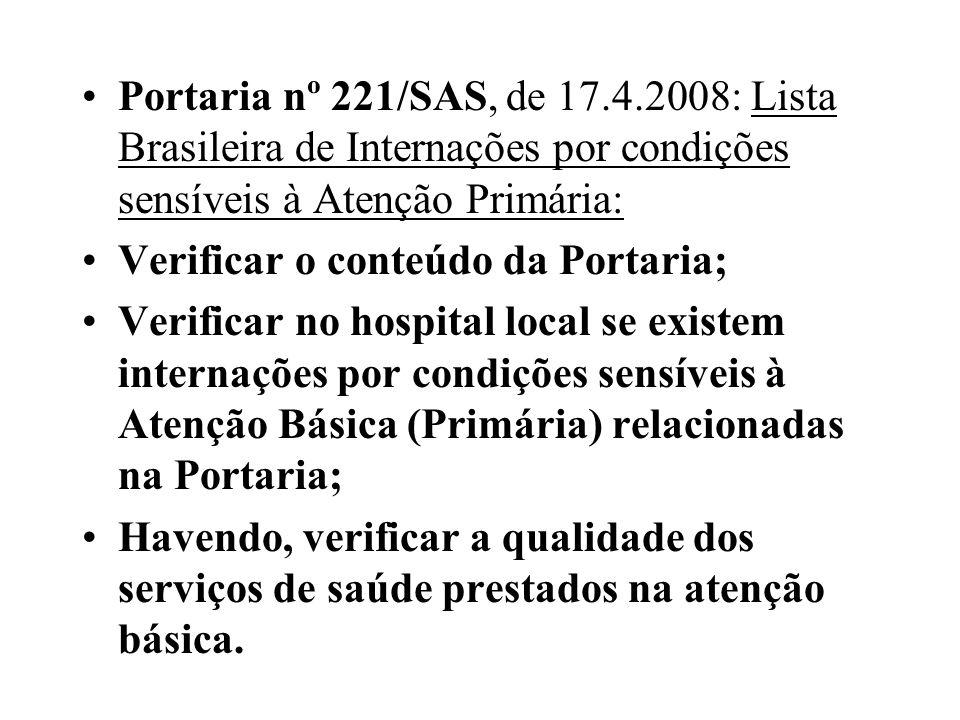 Portaria nº 221/SAS, de 17.4.2008: Lista Brasileira de Internações por condições sensíveis à Atenção Primária: