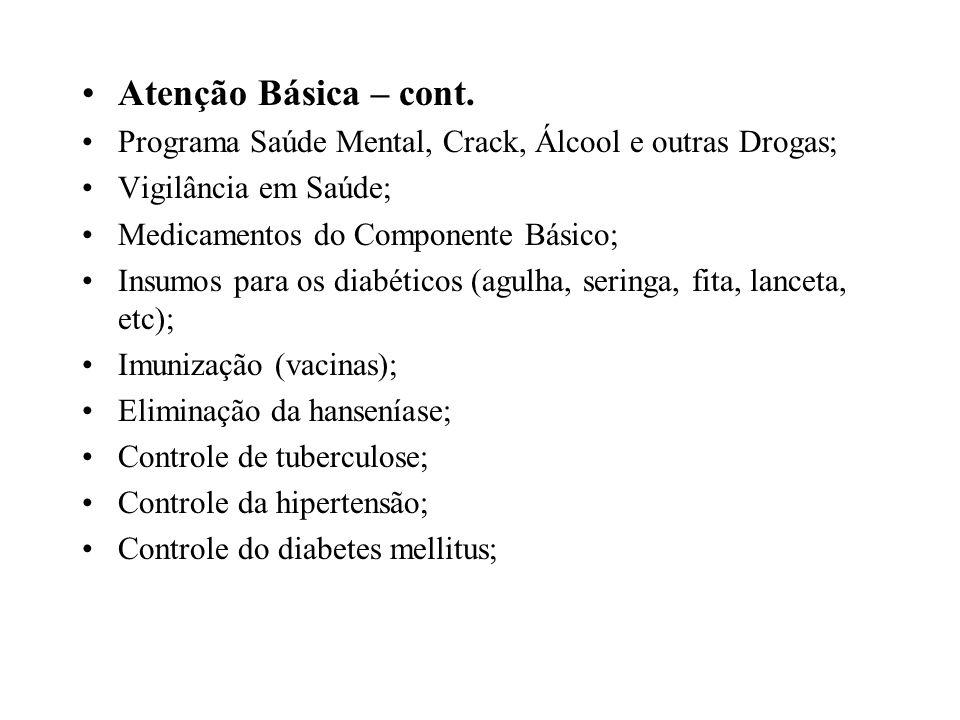 Atenção Básica – cont.Programa Saúde Mental, Crack, Álcool e outras Drogas; Vigilância em Saúde; Medicamentos do Componente Básico;