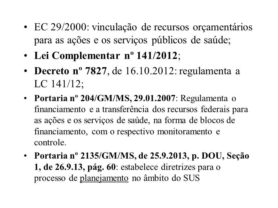 Decreto nº 7827, de 16.10.2012: regulamenta a LC 141/12;