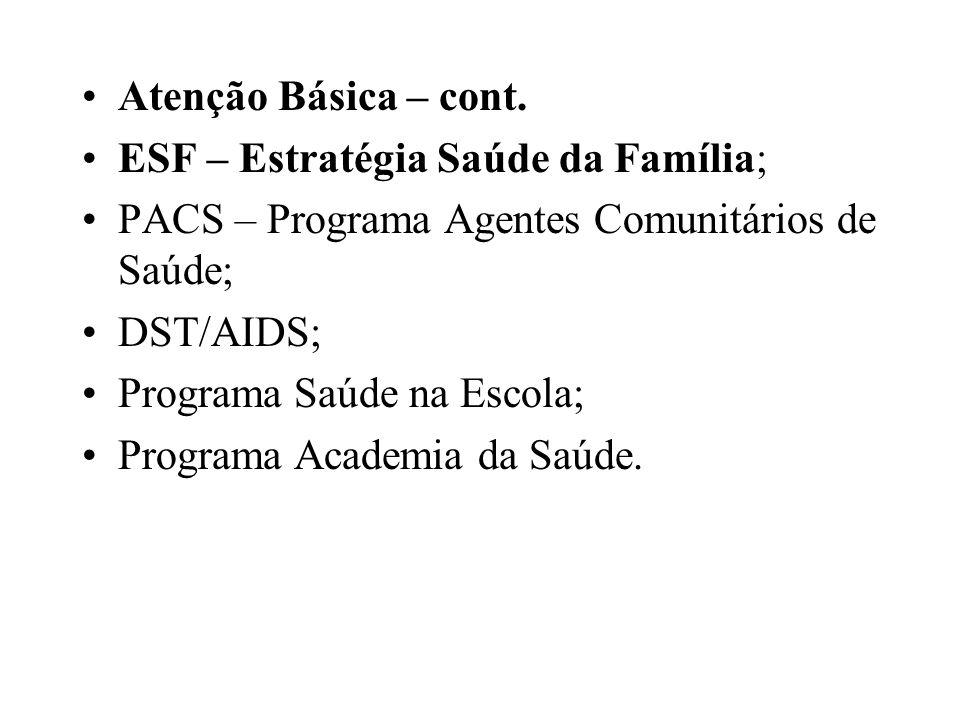 Atenção Básica – cont. ESF – Estratégia Saúde da Família; PACS – Programa Agentes Comunitários de Saúde;