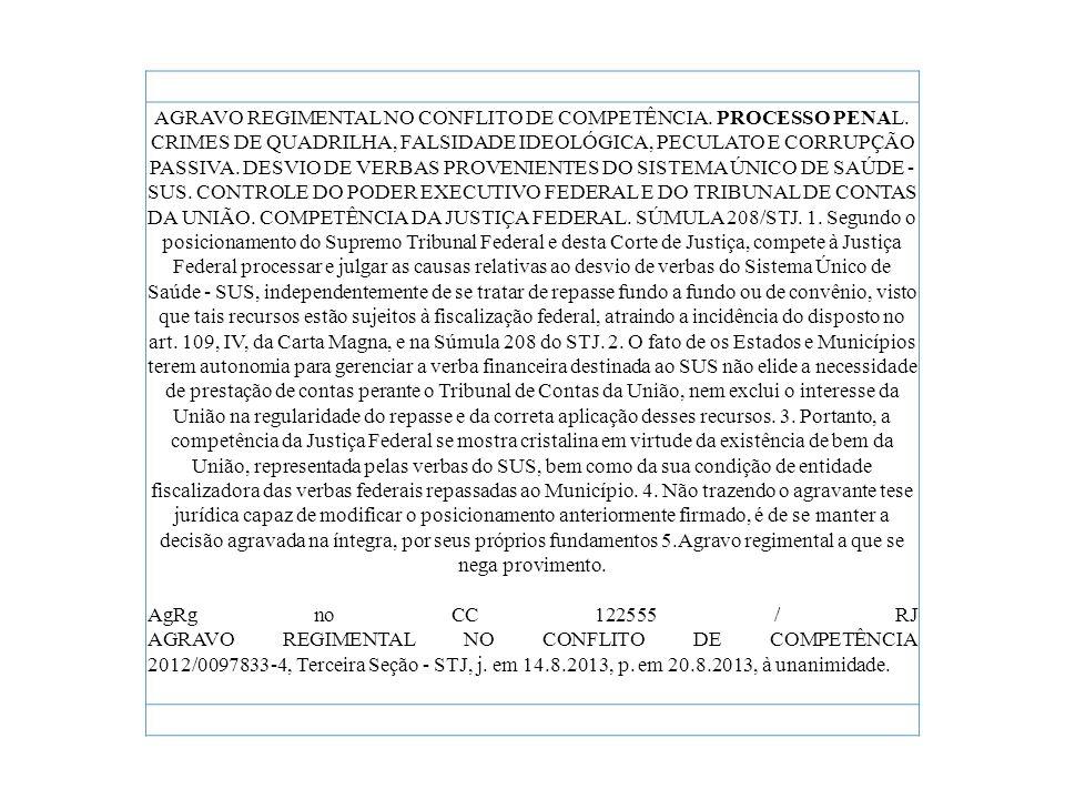 AGRAVO REGIMENTAL NO CONFLITO DE COMPETÊNCIA. PROCESSO PENAL