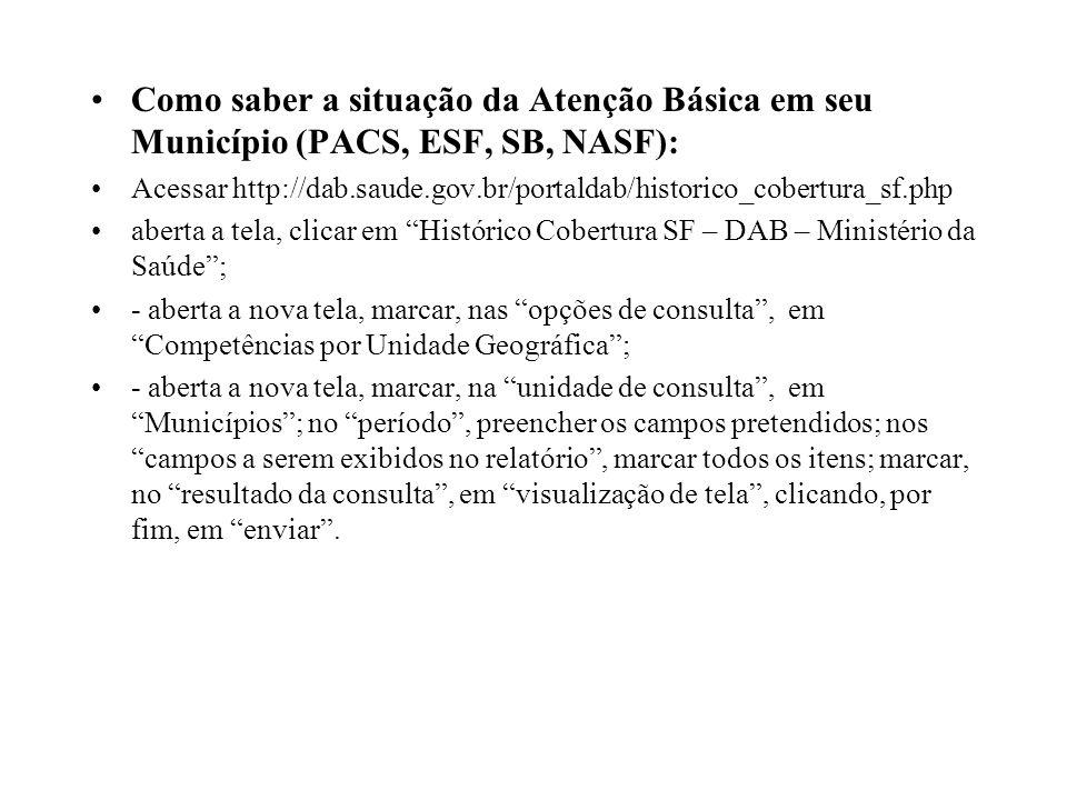 Como saber a situação da Atenção Básica em seu Município (PACS, ESF, SB, NASF):