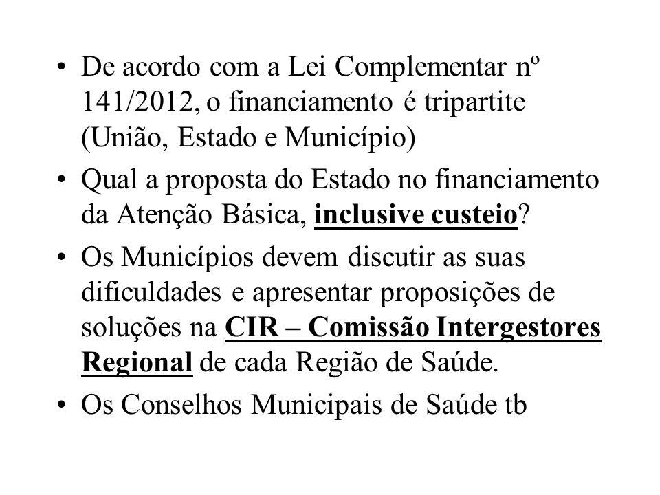 De acordo com a Lei Complementar nº 141/2012, o financiamento é tripartite (União, Estado e Município)