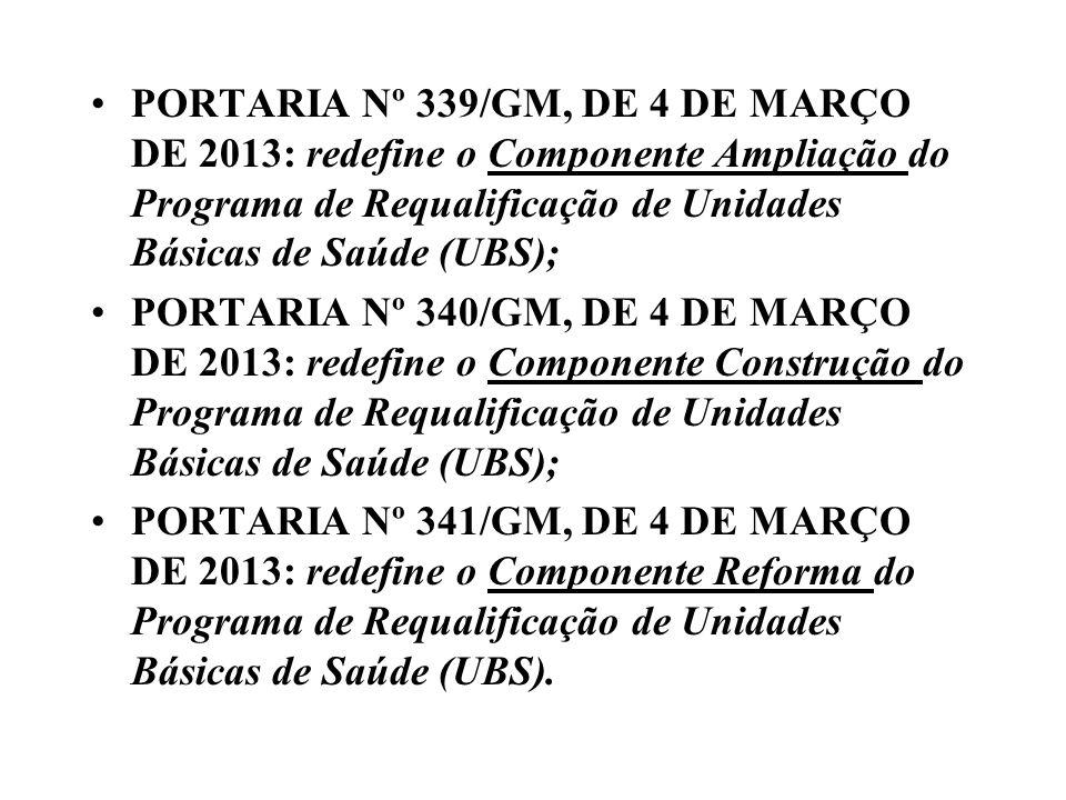 PORTARIA Nº 339/GM, DE 4 DE MARÇO DE 2013: redefine o Componente Ampliação do Programa de Requalificação de Unidades Básicas de Saúde (UBS);