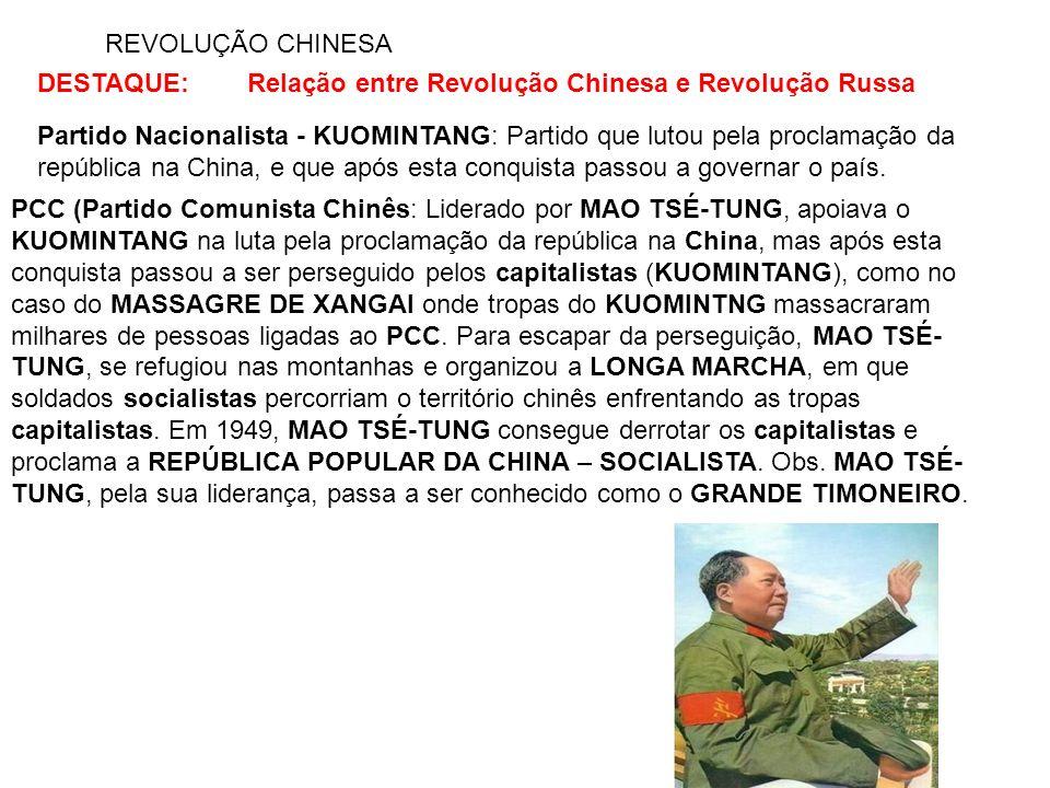 REVOLUÇÃO CHINESA DESTAQUE: Relação entre Revolução Chinesa e Revolução Russa.
