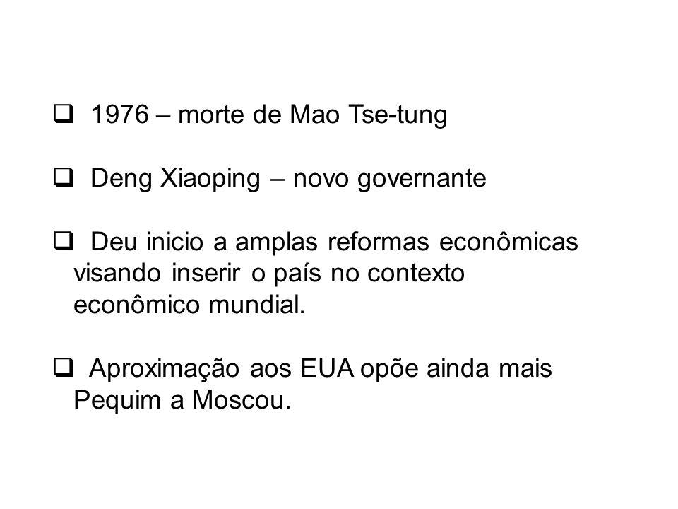 1976 – morte de Mao Tse-tung Deng Xiaoping – novo governante.