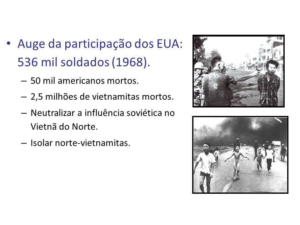 Auge da participação dos EUA: 536 mil soldados (1968).