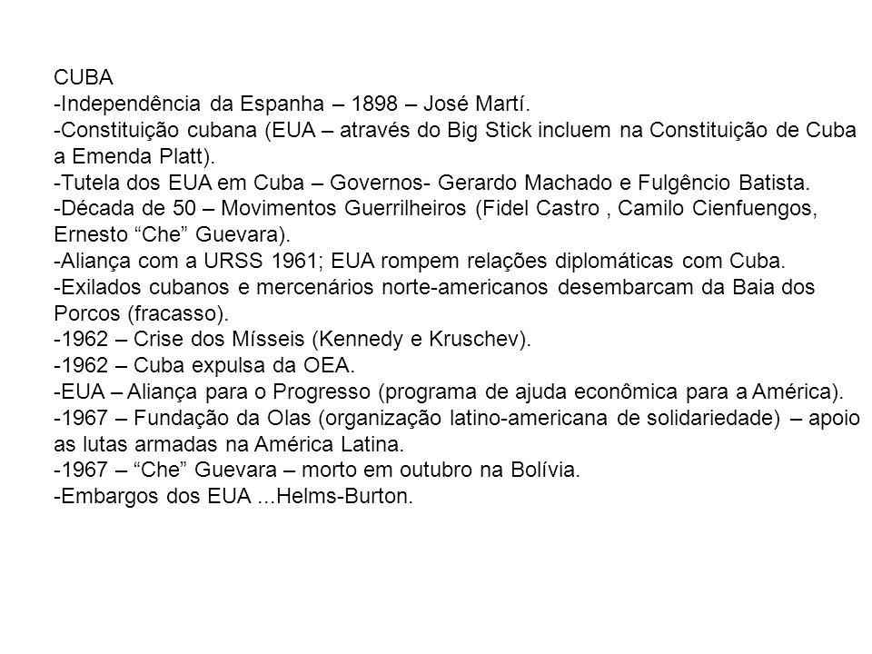 CUBA Independência da Espanha – 1898 – José Martí. Constituição cubana (EUA – através do Big Stick incluem na Constituição de Cuba a Emenda Platt).