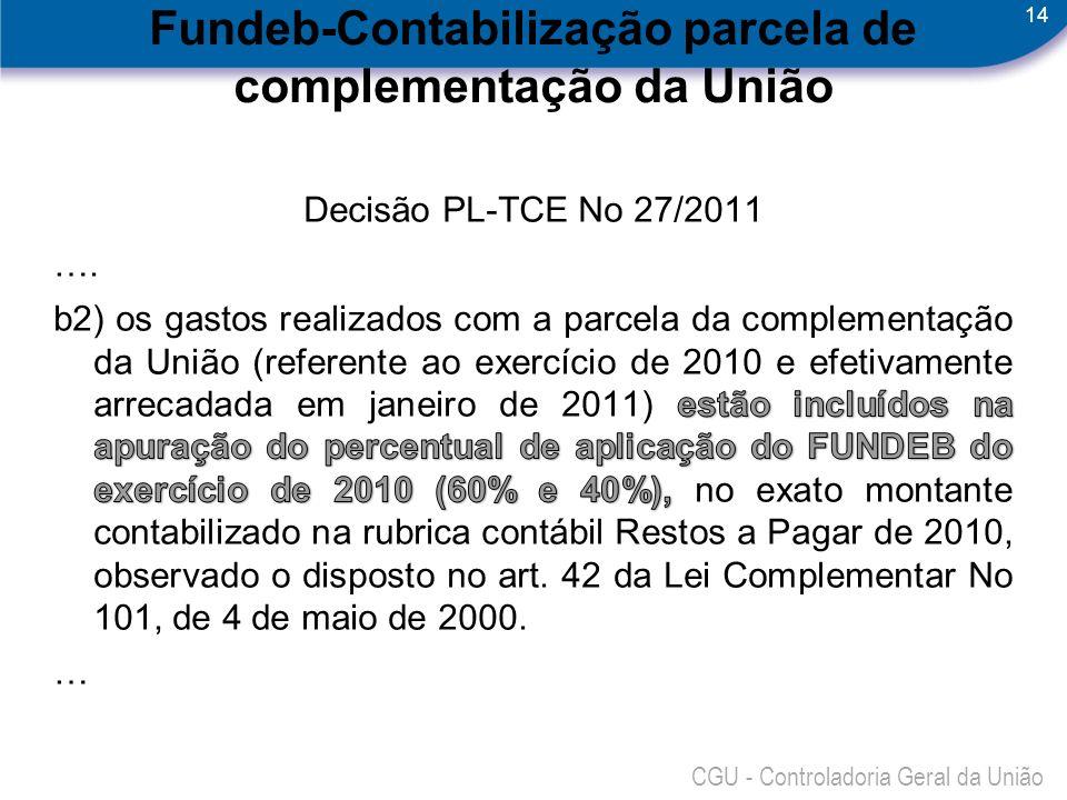 Fundeb-Contabilização parcela de complementação da União