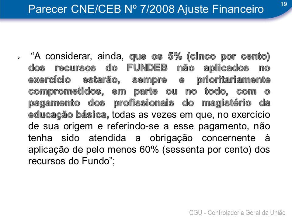 Parecer CNE/CEB Nº 7/2008 Ajuste Financeiro