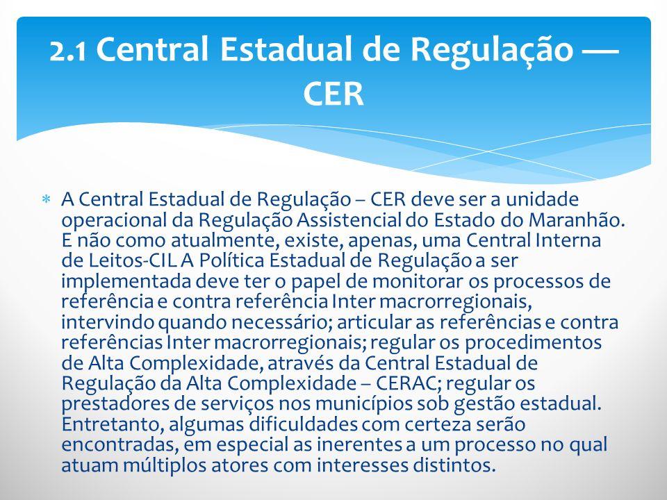 2.1 Central Estadual de Regulação — CER