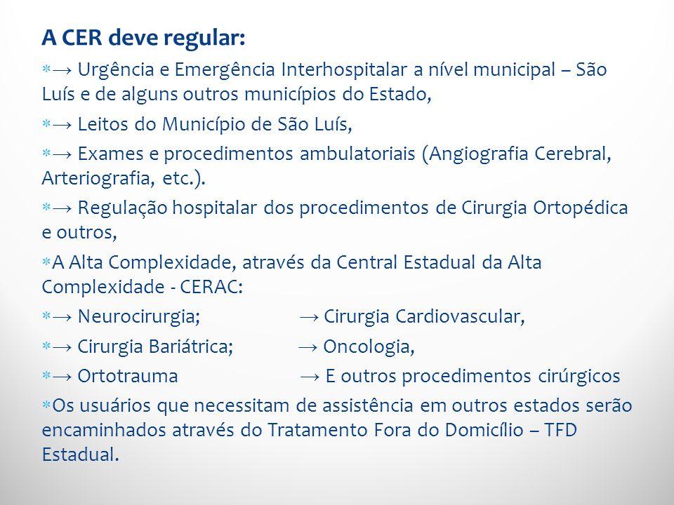 A CER deve regular: → Urgência e Emergência Interhospitalar a nível municipal – São Luís e de alguns outros municípios do Estado,