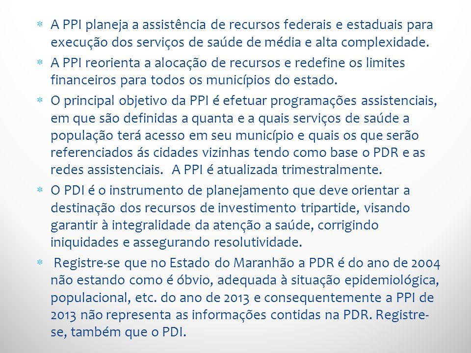 A PPI planeja a assistência de recursos federais e estaduais para execução dos serviços de saúde de média e alta complexidade.