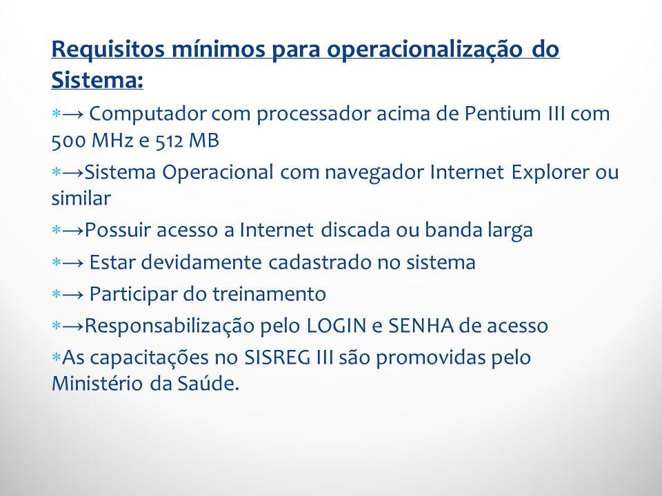 Requisitos mínimos para operacionalização do Sistema: