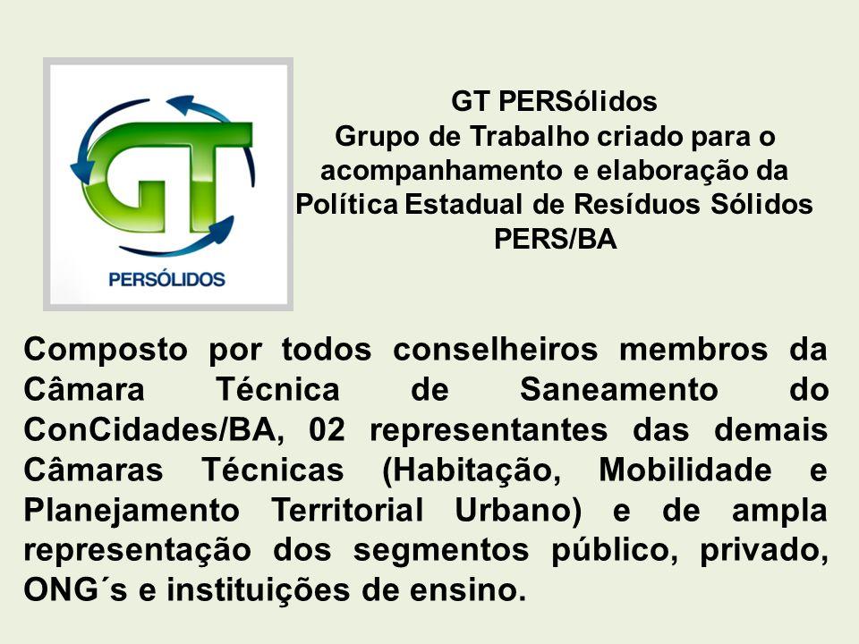 GT PERSólidos Grupo de Trabalho criado para o acompanhamento e elaboração da Política Estadual de Resíduos Sólidos PERS/BA.