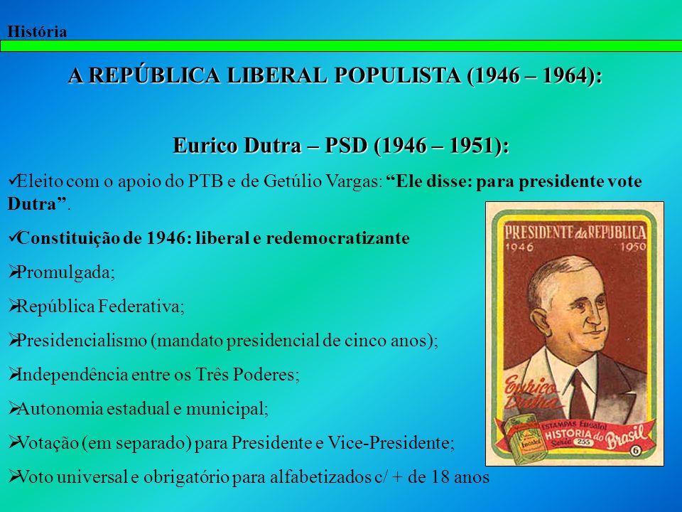 A REPÚBLICA LIBERAL POPULISTA (1946 – 1964):