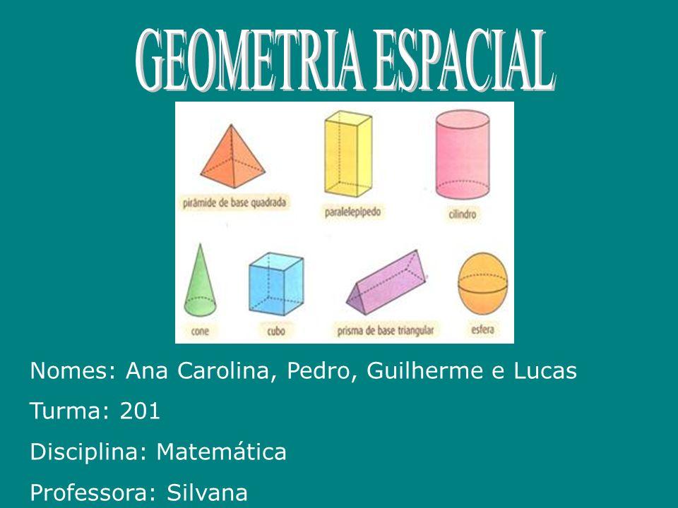 GEOMETRIA ESPACIAL Nomes: Ana Carolina, Pedro, Guilherme e Lucas
