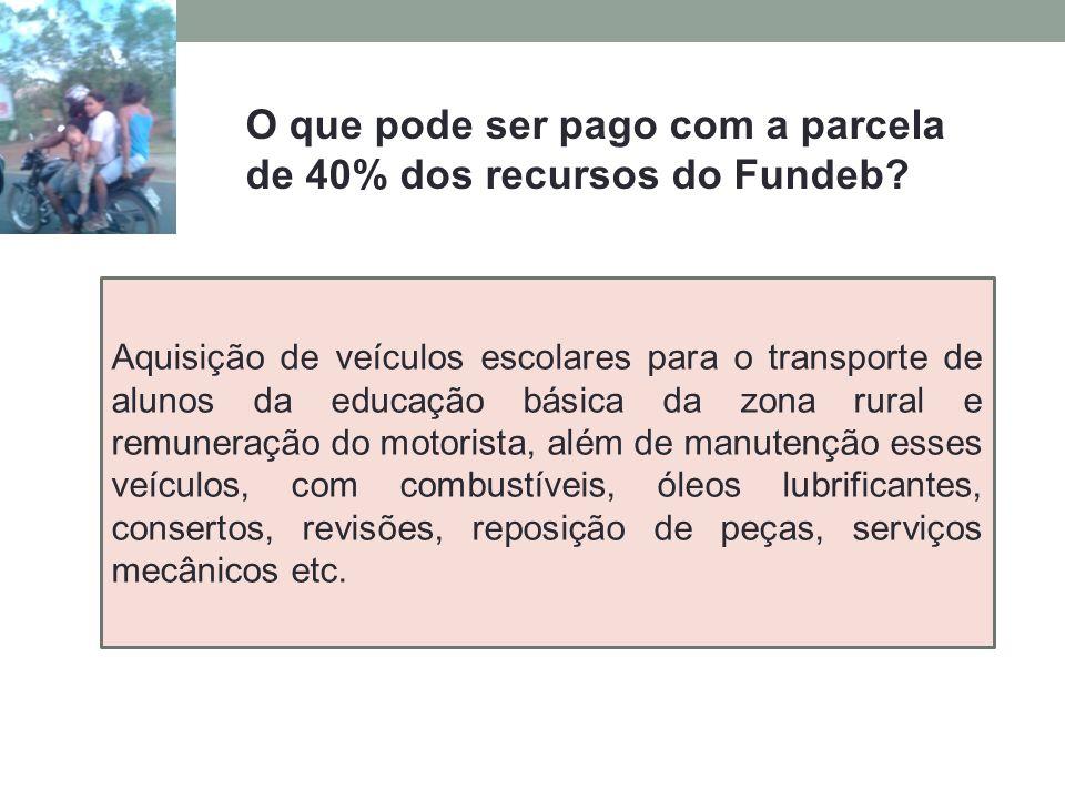 O que pode ser pago com a parcela de 40% dos recursos do Fundeb