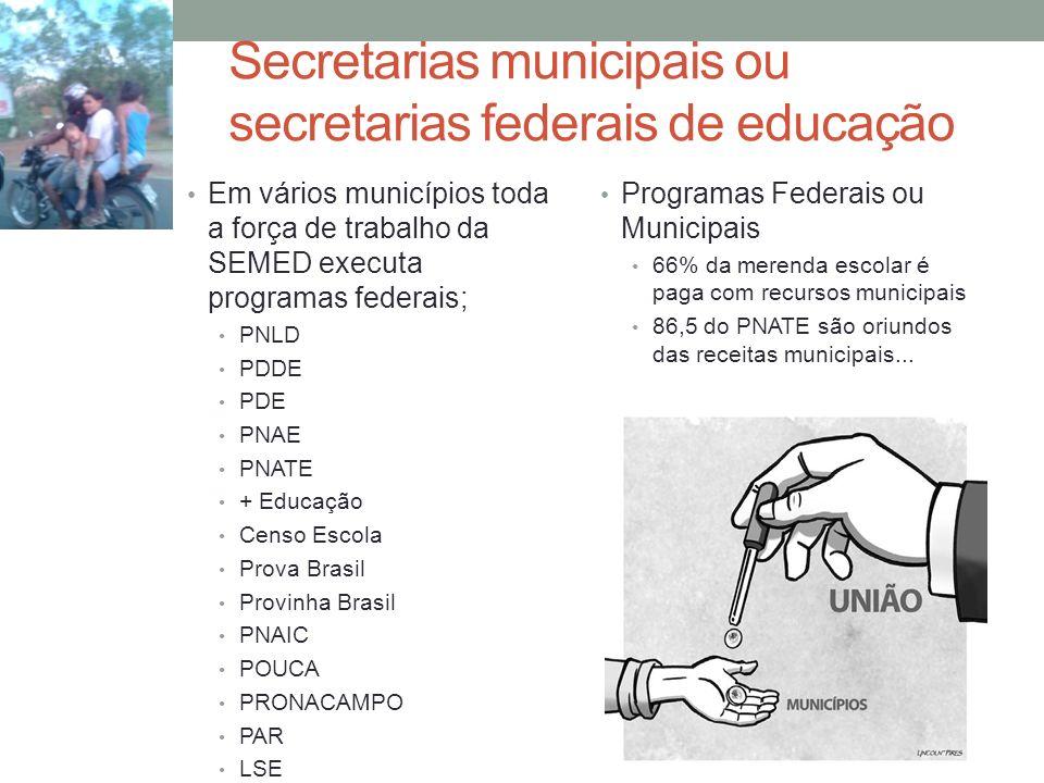 Secretarias municipais ou secretarias federais de educação