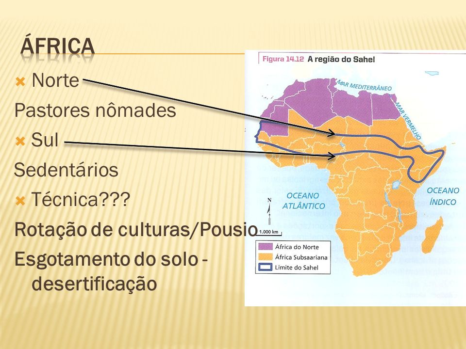África Norte Pastores nômades Sul Sedentários Técnica