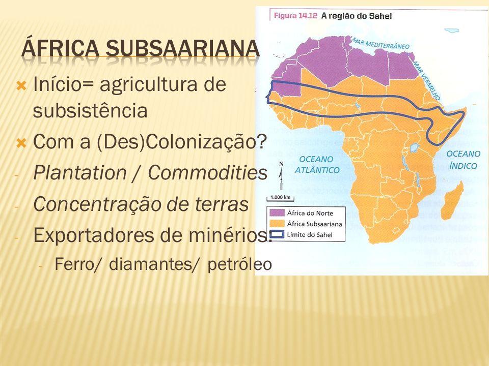 África subsaariana Início= agricultura de subsistência
