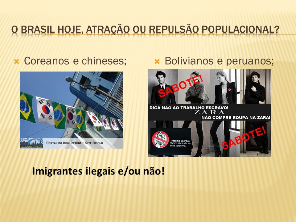 O Brasil hoje, atração ou repulsão populacional