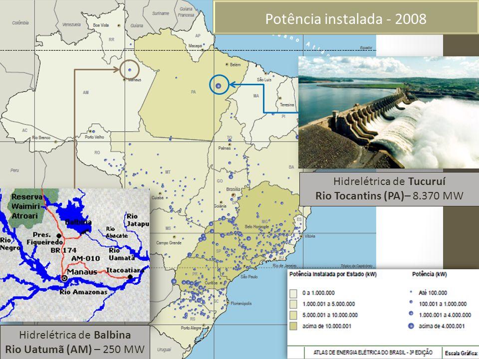 Potência instalada - 2008 Hidrelétrica de Tucuruí