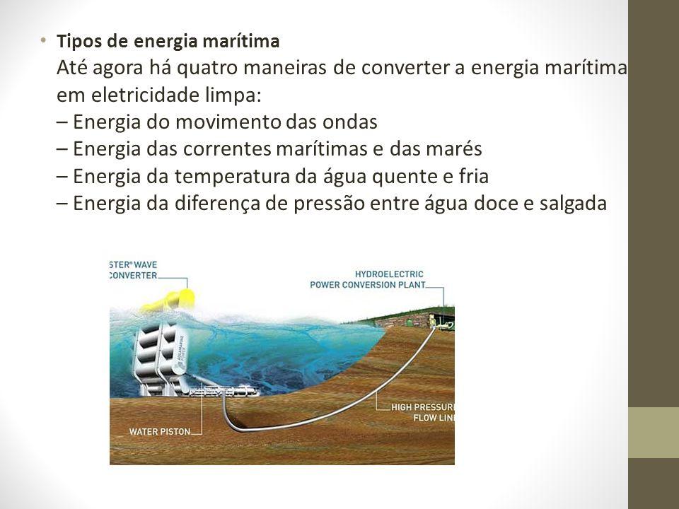 Tipos de energia marítima Até agora há quatro maneiras de converter a energia marítima em eletricidade limpa: – Energia do movimento das ondas – Energia das correntes marítimas e das marés – Energia da temperatura da água quente e fria – Energia da diferença de pressão entre água doce e salgada