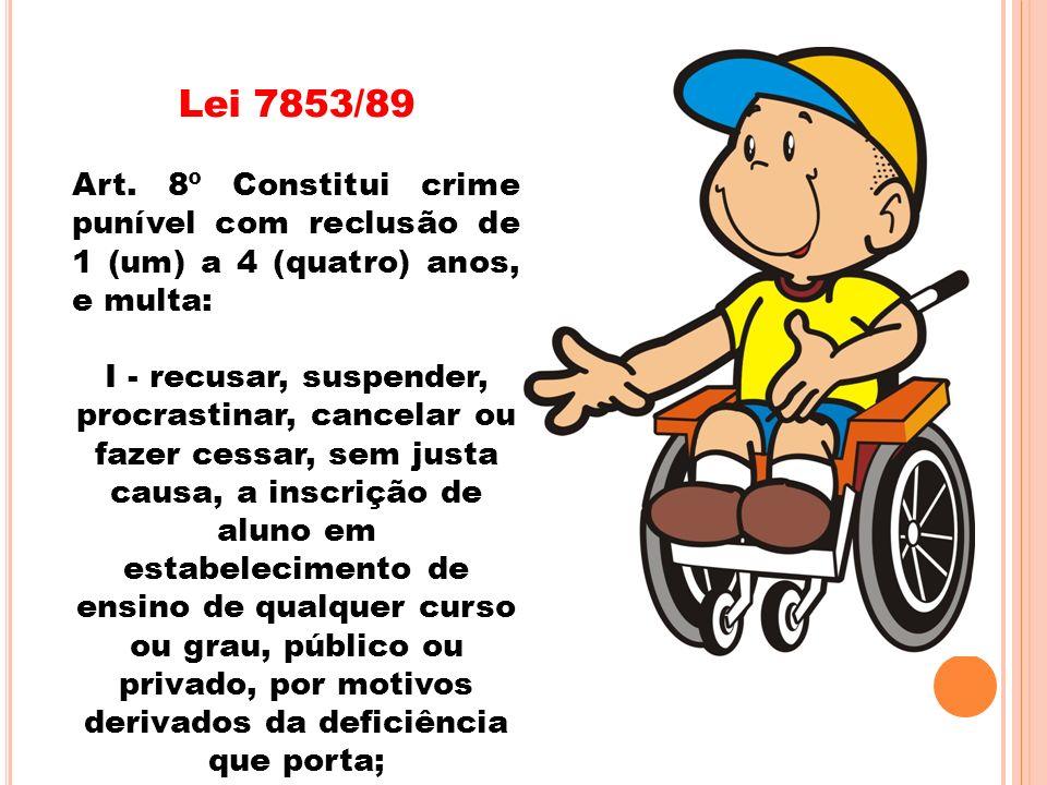 Lei 7853/89Art. 8º Constitui crime punível com reclusão de 1 (um) a 4 (quatro) anos, e multa: