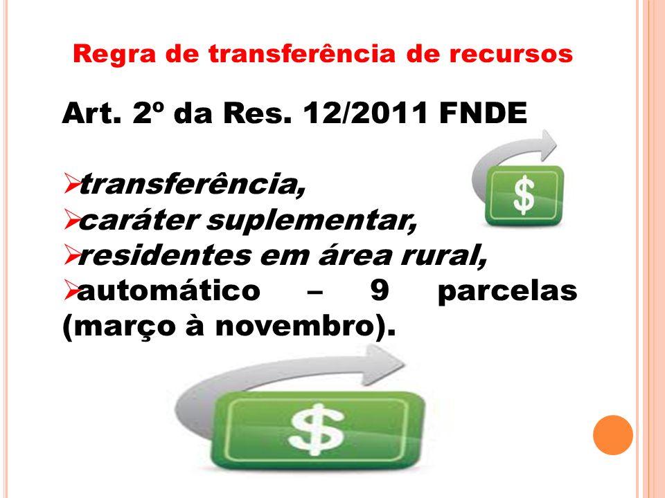 residentes em área rural, automático – 9 parcelas (março à novembro).